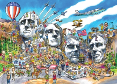 DoodleTown: Mount Rushmore - 1000pc Jigsaw Puzzle by Cobble Hill