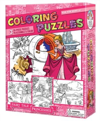 Coloring Puzzles: Fairy Tale Princesses - 24pc Coloring Puzzle by Cobble Hill