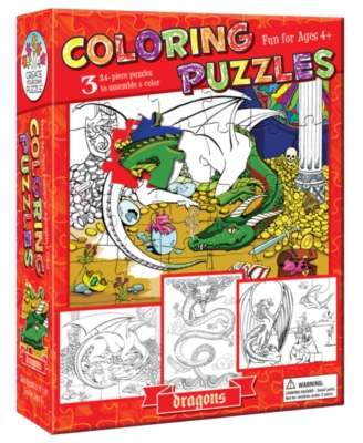 Coloring Puzzles: Dragons - 24pc Coloring Puzzle by Cobble Hill
