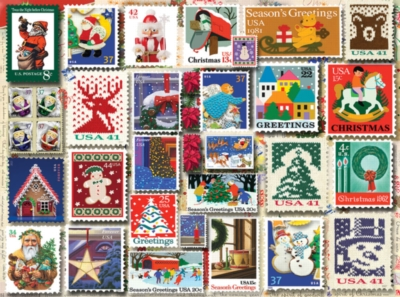 Christmas Stamps - 1000pc Jigsaw Puzzle By White Mountain