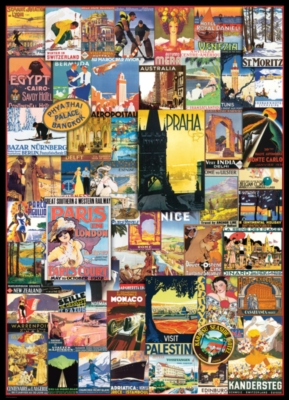 Travel the World Vintage Ads - 1000pc Jigsaw Puzzle by EuroGraphics