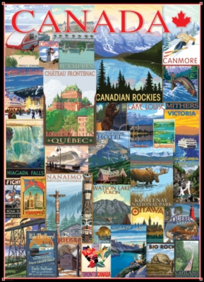 Vintage Poster Collage - Travel Canada - 1000pc Jigsaw Puzzle by Eurographics