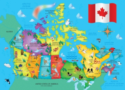 Canada Map - 60pc Jigsaw Puzzle by Masterpieces