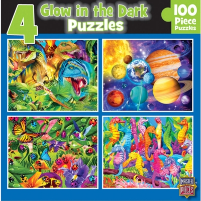 Glow in the Dark 4-pack - 100pc Jigsaw Puzzle Set by MasterPieces