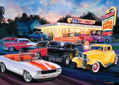 Cruisin' Rt66: Dogs & Burgers - 1000pc Jigsaw Puzzle by Masterpieces