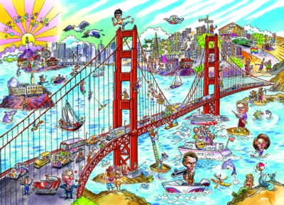 DoodleTown: San Francisco - 1000pc Jigsaw Puzzle by Cobble Hill