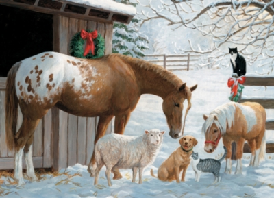 Winter Barnyard - 350pc Family Jigsaw Puzzle by Cobble Hill