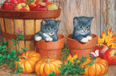 Kittens with Pumpkins - 60pc Kids Puzzle by Cobble Hill