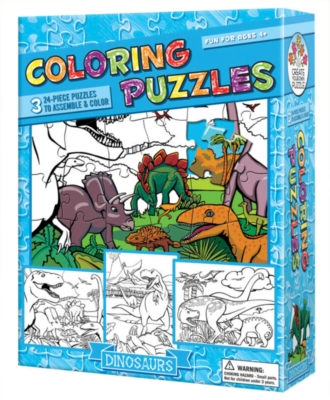 Coloring Puzzles: Dinosaurs - 24pc Coloring Puzzle by Cobble Hill