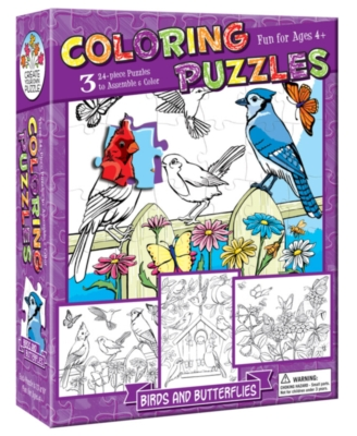 Coloring Puzzles: Birds and Butterflies - 24pc Coloring Puzzle by Cobble Hill