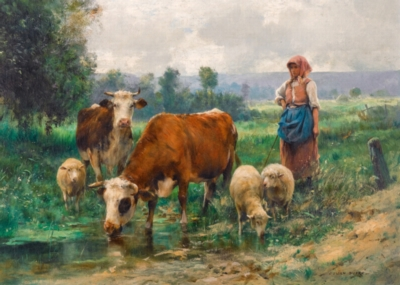 Dupre: The Shepherdess with her Flock - 1000pc Jigsaw Puzzle by D-Toys