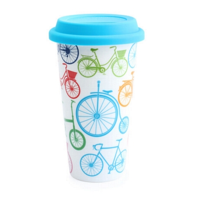 'I Am Not a Paper Cup' Bikes Assortment - 6 Porcelain Cups w/ Silicone Lid