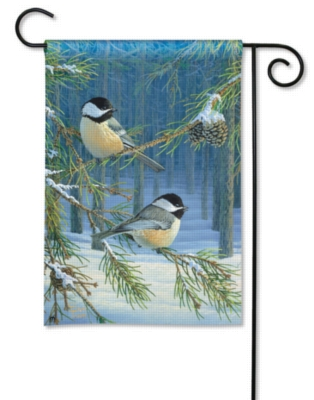 Chickadee Pair - Garden Flag by Magnet Works