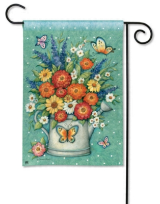 Watering Can Bouquet - Garden Flag by Magnet Works