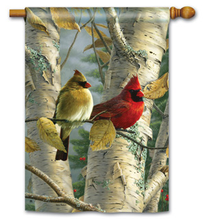 Cardinals in Birch - Standard Flag by Magnet Works