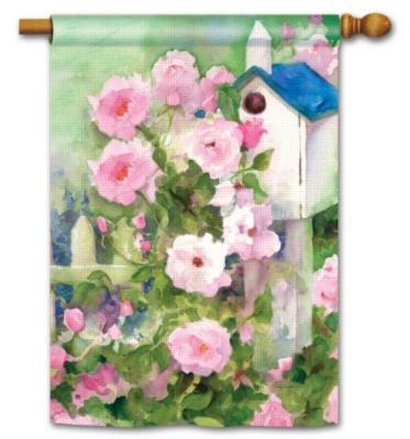 Roses & Birdhouse - Standard Flag by Magnet Works