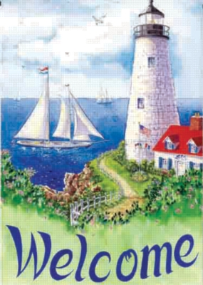 Lighthouse Welcome - Garden Flag by Toland
