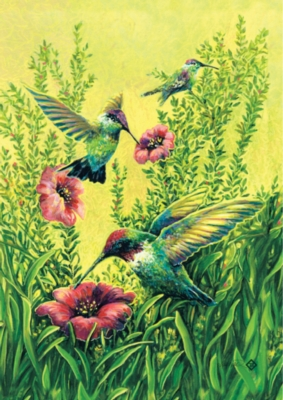Hummingbirds in Flight - Garden Flag by Toland