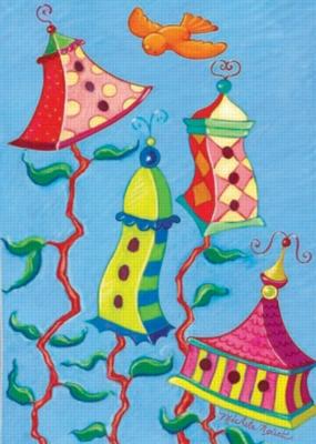 Spring Birdhouses - Garden Flag by Toland