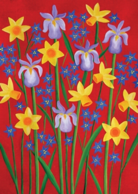 Flowers on Red - Standard Flag by Toland