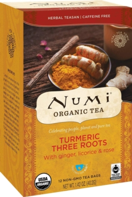 Numi Organic Turmeric Tea - Box of 12 Tea Bags: Three Roots