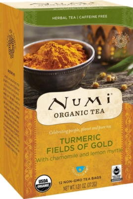 Numi Organic Turmeric Tea - Box of 12 Tea Bags: Fields of Gold