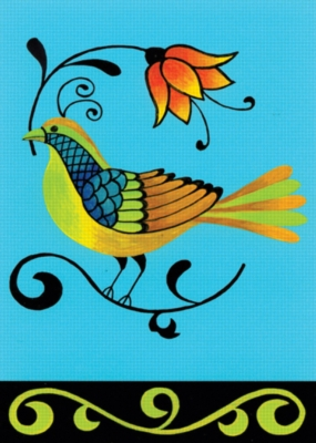 Folk Art Bird - Standard Flag by Toland