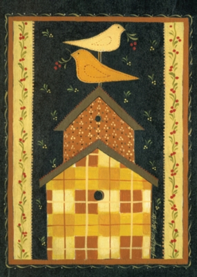 Quilted Birdhouse - Garden Flag by Toland