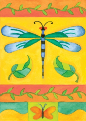 Patchwork Dragonfly - Garden Flag by Toland