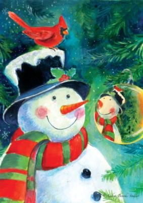 Reflection Snowman - Garden Flag by Toland