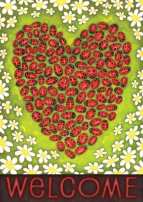 Ladybug Heart - Eco Friendly Garden Flag by Toland