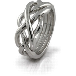 Puzzle Rings - Twist (Mens) - 4 Band - Sterling Silver