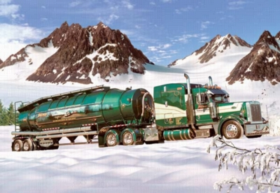 Tank-truck in the Winter - 1000pc Jigsaw Puzzle by Castorland