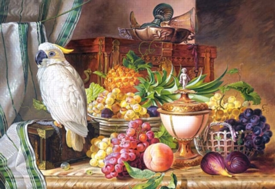 Hard Jigsaw Puzzles - Still Life With Fruit and a Cockatoo