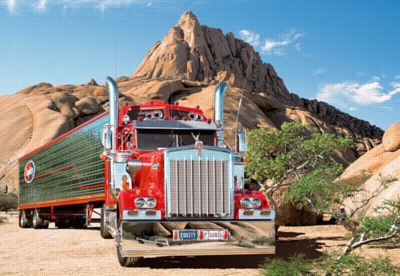Truck against the Matterhorn of Africa - 500pc Jigsaw Puzzle by Castorland