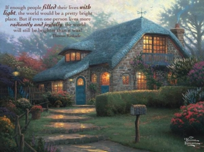 Thomas Kinkade: Lilac Cottage - 300pc Inspirational Jigsaw Puzzle by Ceaco