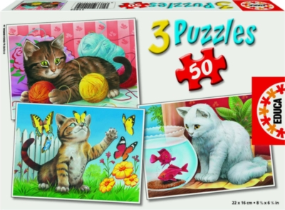 Playful Kittens - 3 x 50pc Jigsaw Puzzles by EDUCA