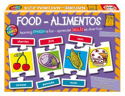Bilingual Food (Alimentos) - 80pc Jigsaw Puzzle by EDUCA