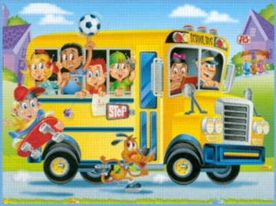 Happy School Bus Make' Em Move - 24pc Jigsaw Puzzle By Great American Puzzle Factory