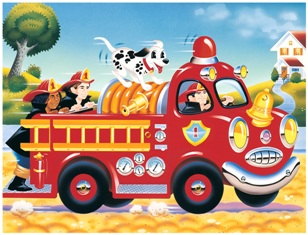 Speedy Fire Truck Make' Em Move - 24pc Jigsaw Puzzle By Great American Puzzle Factory