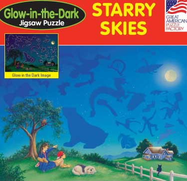 Starry Skies - 100pc Glow in the Dark Jigsaw Puzzle by Great American Puzzle Factory