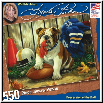 Linda Picken Possession Of The Football - 550pc Jigsaw Puzzle by Great American Puzzle Factory