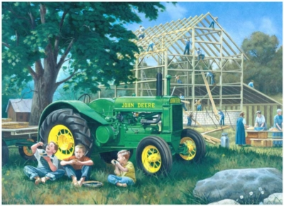 John Deere: Barn Raising - 1000pc Jigsaw Puzzle By Great American Puzzle Factory