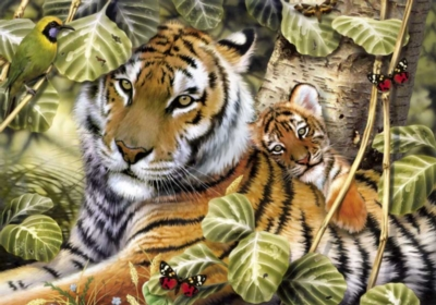 Tiger And Cub - 1000pc Jigsaw Puzzle By Great American Puzzle Factory