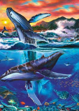 Underwater Sunset Swim - 1000pc Jigsaw Puzzle by Great American Puzzle Factory