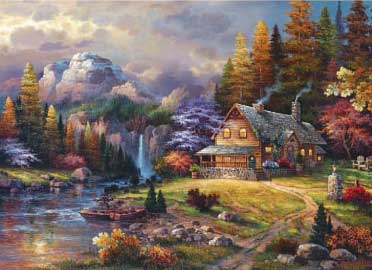 Mountain Hideaway - 1000pc Jigsaw Puzzle by Great American Puzzle Factory