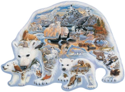 Land Of The Polar Bears - 1000pc Shaped Jigsaw Puzzle By Great American Puzzle Factory