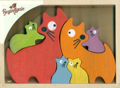 Cat Family - 6pc Eco-Friendly Wooden Jigsaw Puzzle by BeginAgain Toys