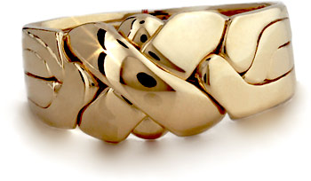 Gold 4 Band LARGE X - Puzzle Ring