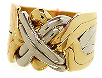 Gold Two Tone 8-Band - Puzzle Ring